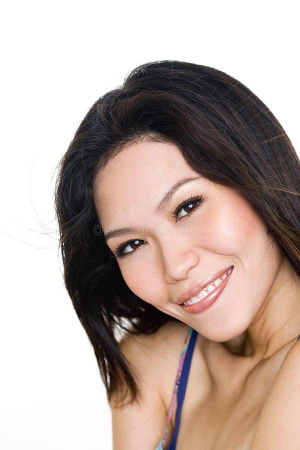 De jonge uitdrukking van het vrouwen gelukkige gezicht royalty-vrije stock foto's