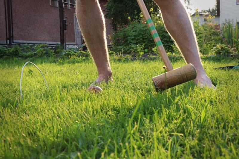 De jonge veenmol van sportmanspelen, Engels traditioneel spel, op de tuin De jongen probeert om bal aan het laatste doel vóór doe royalty-vrije stock fotografie