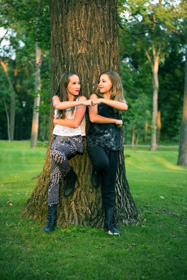 De jonge Vrienden van het Tienermeisje geven Vuistpomp stock afbeeldingen