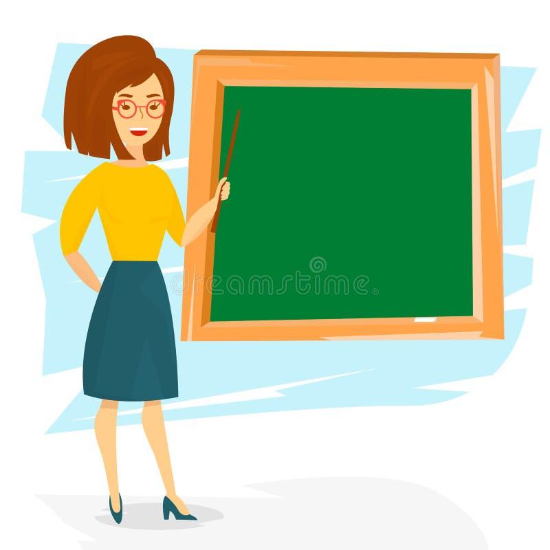 De jonge vrolijke vrouw van de schoolleraar Het onderwijs van de schoolleraar met een wijzer Vector illustratie stock illustratie
