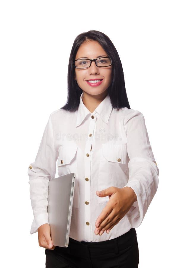 De jonge vrouw in bedrijfsconcept stock afbeeldingen