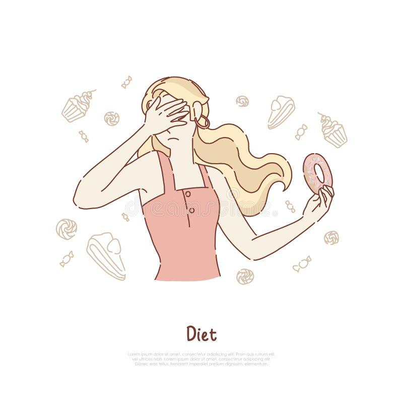 De jonge vrouw behandelt gezicht, meisje die heerlijke doughnut houden, ongezonde kost die, wilskrachttest, dieetbanner weigeren stock illustratie
