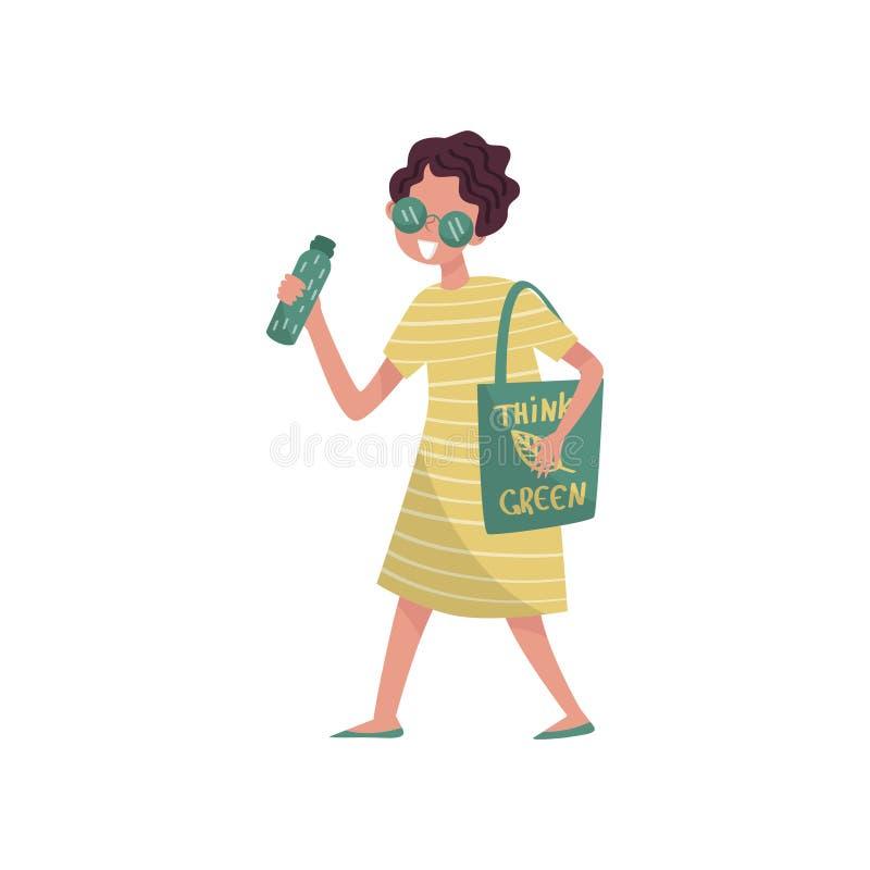 De jonge vrouw die in groene kleren met zak met een inschrijving lopen denkt concept van Groene, eco het vriendschappelijke mense stock illustratie