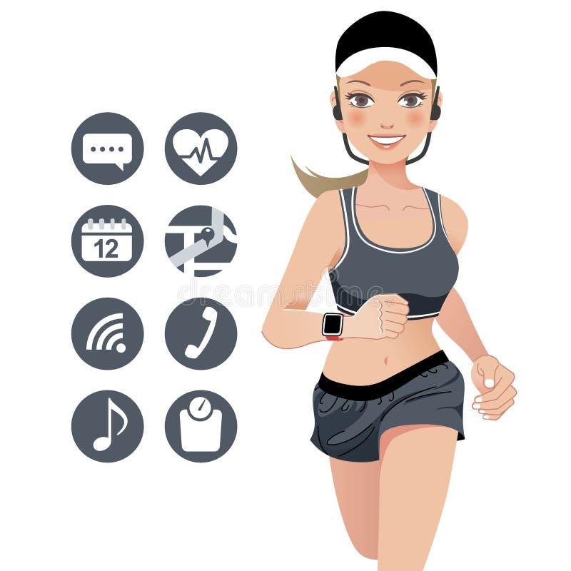 De jonge vrouw die van de gezondheidssport met slim horlogeapparaat lopen vector illustratie