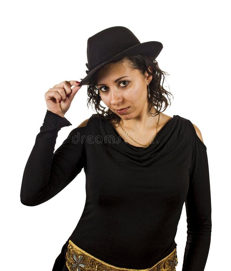 De jonge Vrouw draagt een Hoed royalty-vrije stock foto