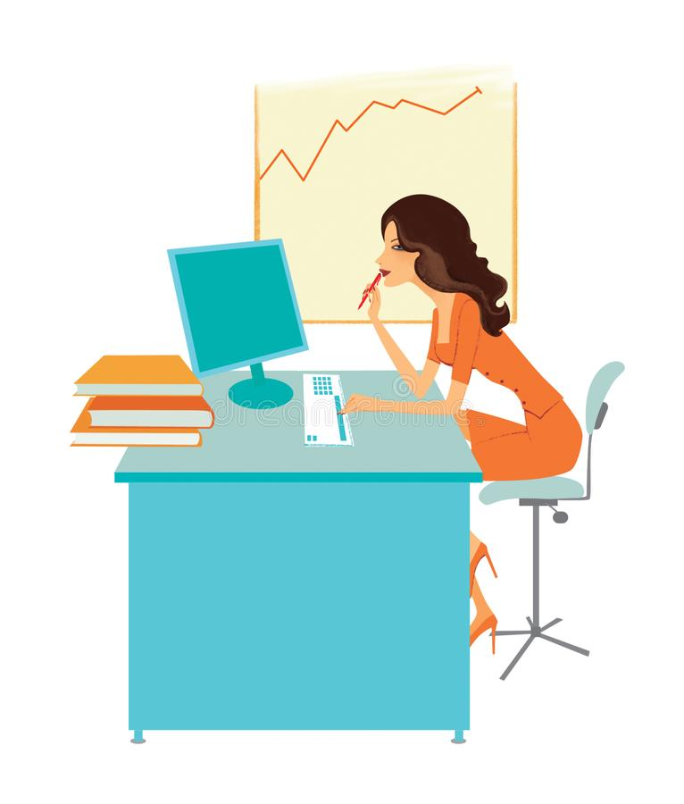 De jonge vrouw in een oranje kleding zit bij het bureau dichtbij de monitor royalty-vrije illustratie