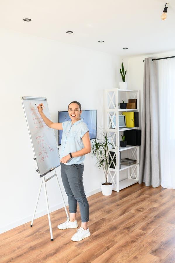 De jonge vrouw gebruikt een flip-diagram en het monitorscherm voor klassen, schrijft zij op een whiteboard met een teller royalty-vrije stock afbeelding