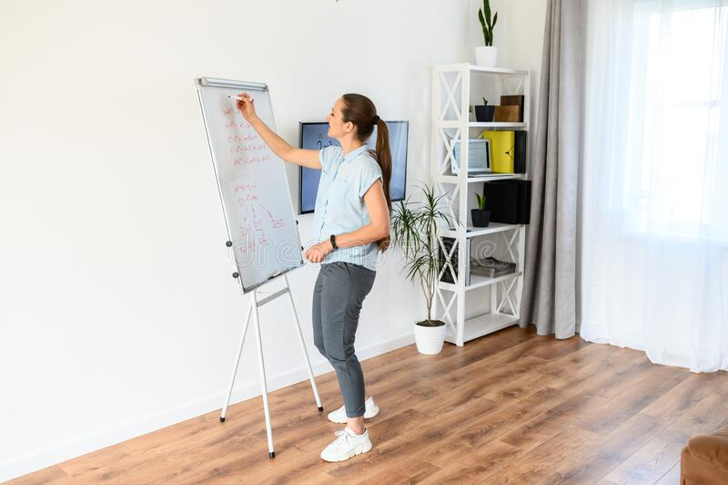 De jonge vrouw gebruikt een flip-diagram en het monitorscherm voor klassen, schrijft zij op een whiteboard met een teller royalty-vrije stock fotografie