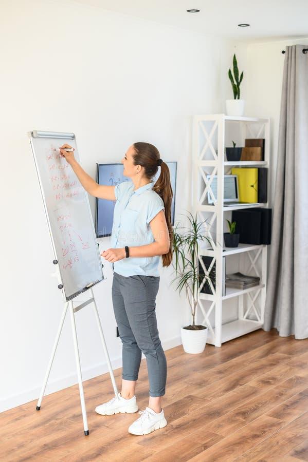 De jonge vrouw gebruikt een flip-diagram en het monitorscherm voor klassen, schrijft zij op een whiteboard met een teller royalty-vrije stock foto's