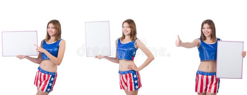 De jonge vrouw in het in dozen doen van broek die de raad houden royalty-vrije stock afbeelding