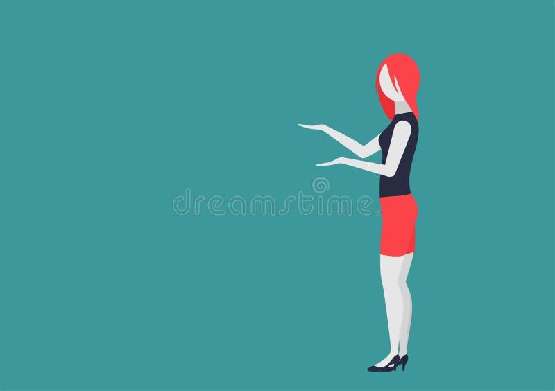 De jonge vrouw houdt iets in haar hand en toont het karakter met het bewegen van lichaamsdelen stock illustratie