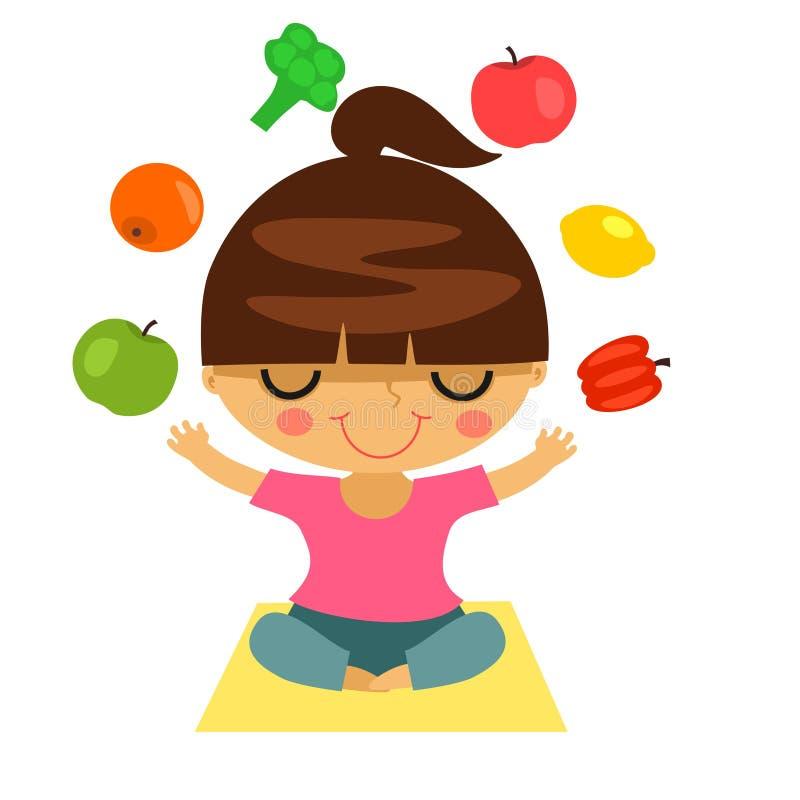 De jonge vrouw jongleert met met vruchten en groenten royalty-vrije illustratie