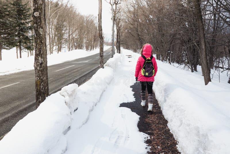 De jonge vrouw liep haastig omhoog de heuvel om de top vóór zonsondergang te bereiken royalty-vrije stock foto's