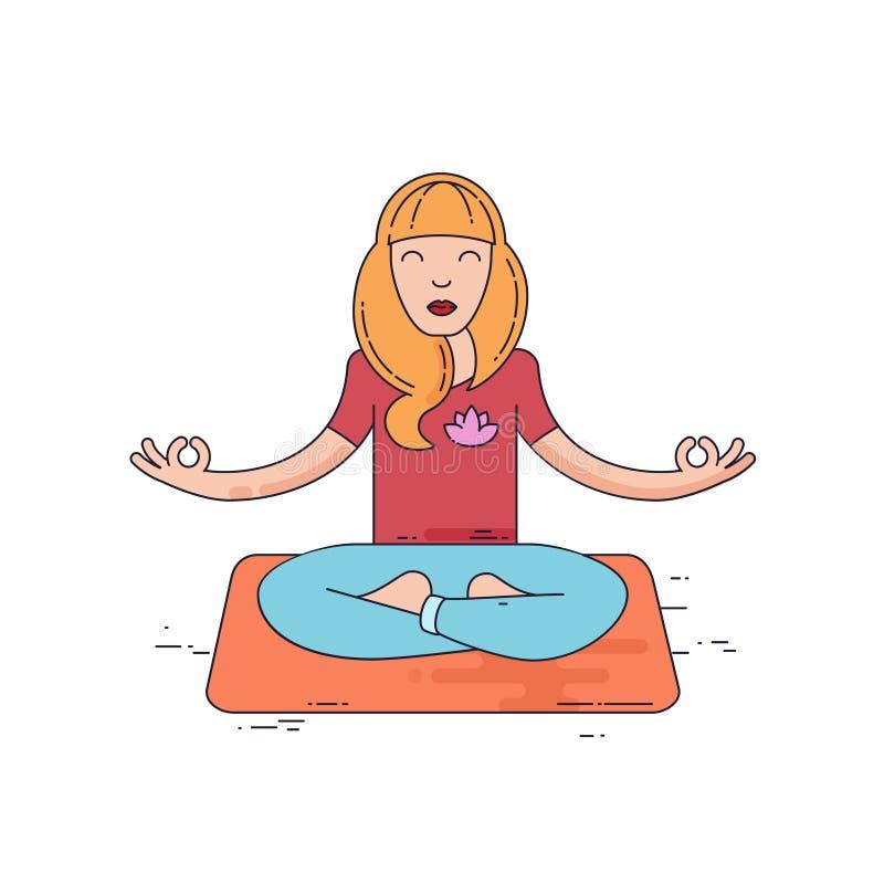 De jonge Vrouw mediteert vector illustratie