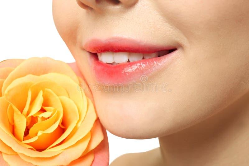De jonge vrouw met mooie lippen en nam dichtbij gezicht toe royalty-vrije stock foto