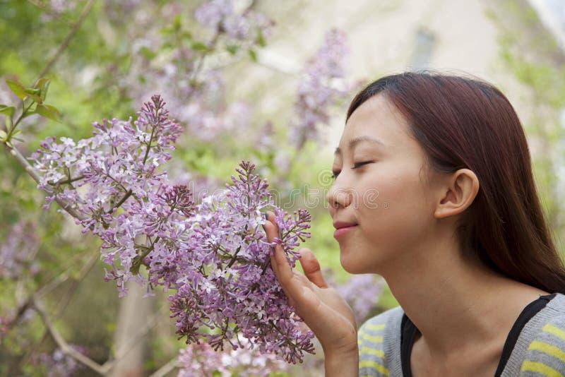 De jonge vrouw met ogen sloot het ruiken van een bloembloesem in het park in de lente stock afbeelding