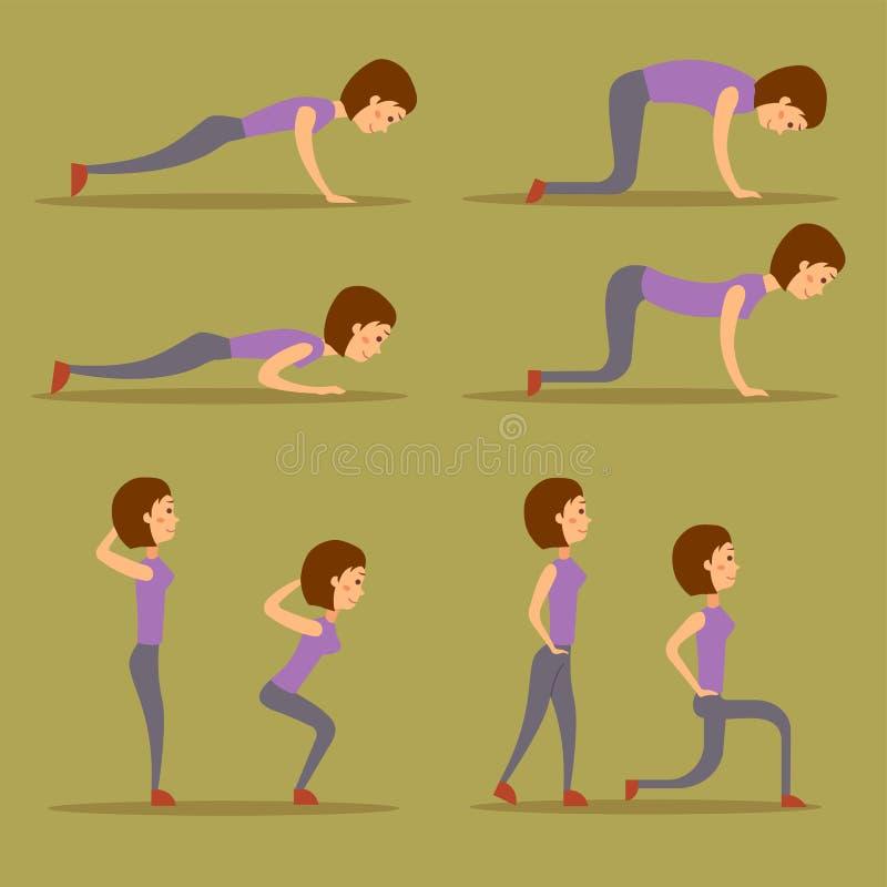 De jonge vrouw oefent de training van het geschiktheidskarakter thuis het gezonde leven en de vectorillustratie van het dieetconc stock illustratie