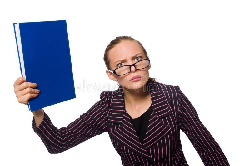 De jonge vrouw in purper kostuum met nota's stock afbeeldingen
