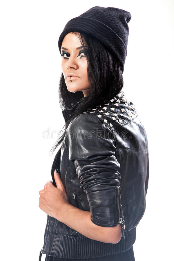 De jonge vrouw, tiener draagt grunge stijl stock foto