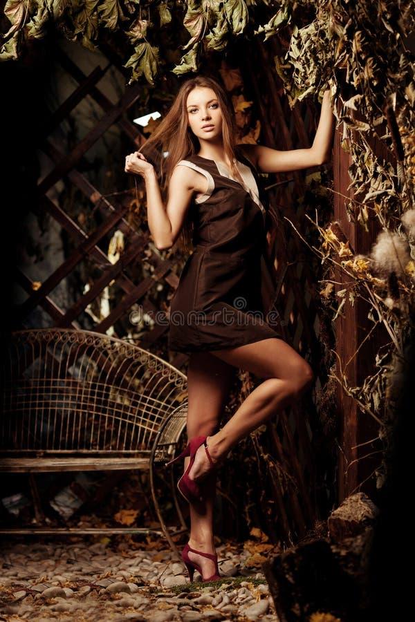 De jonge vrouw van de luxeschoonheid in een mystiek bos royalty-vrije stock foto