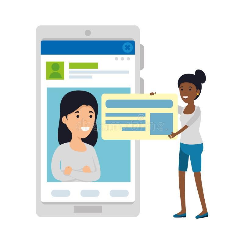 De jonge vrouwen koppelen aan smartphone stock illustratie