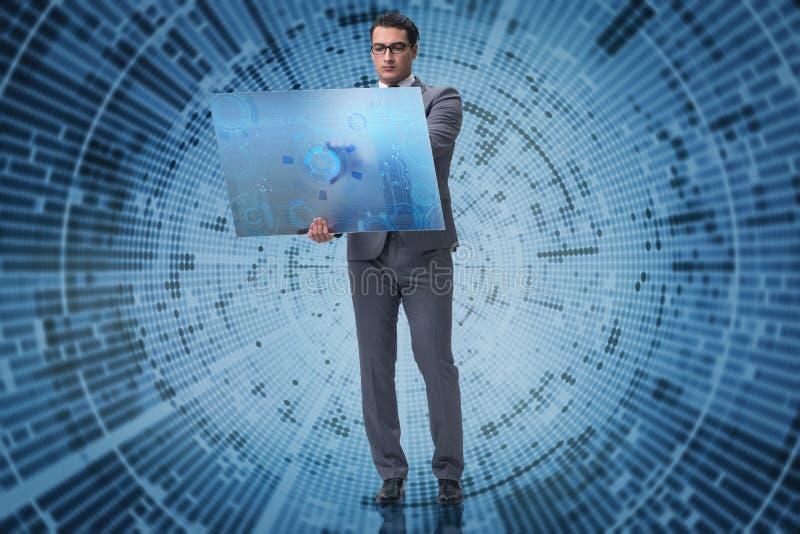 De jonge zakenman in concept voor het exploiteren van gegevens royalty-vrije stock foto