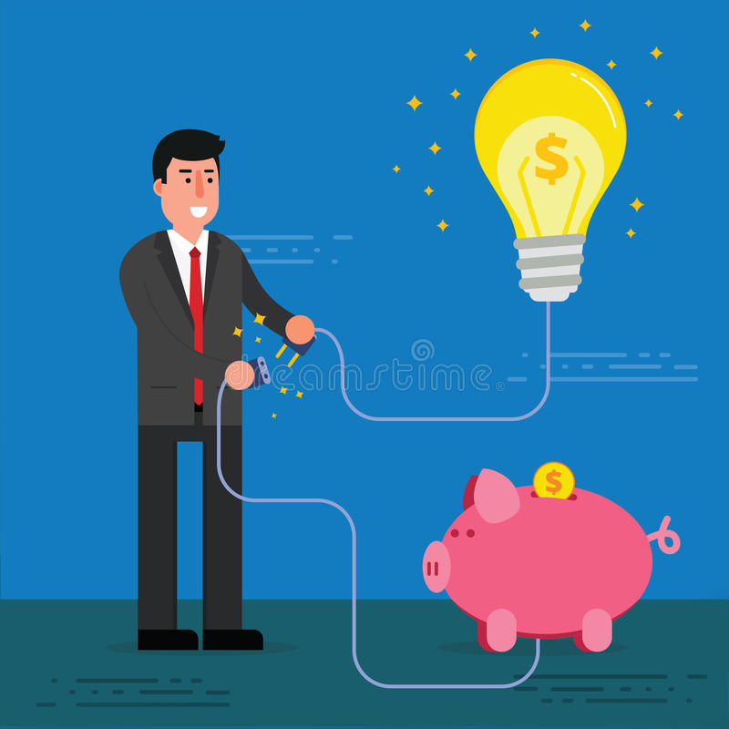De jonge zakenman of de makelaar verbindt gloeilamp en van het spaarvarken wi vector illustratie