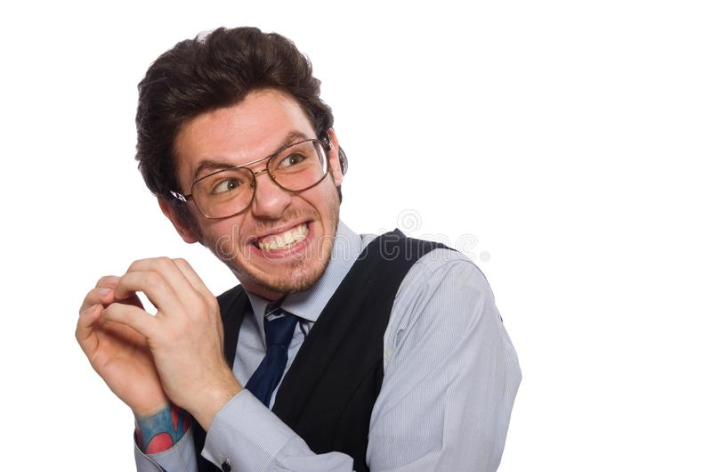 De jonge zakenman in grappig concept op wit stock foto