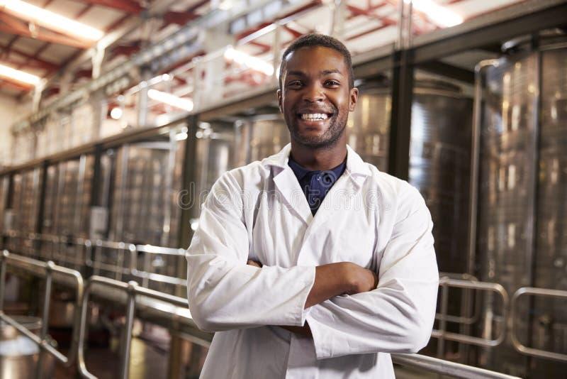 De jonge zwarte mannelijke technicus die van de wijnfabriek aan camera glimlachen royalty-vrije stock foto's