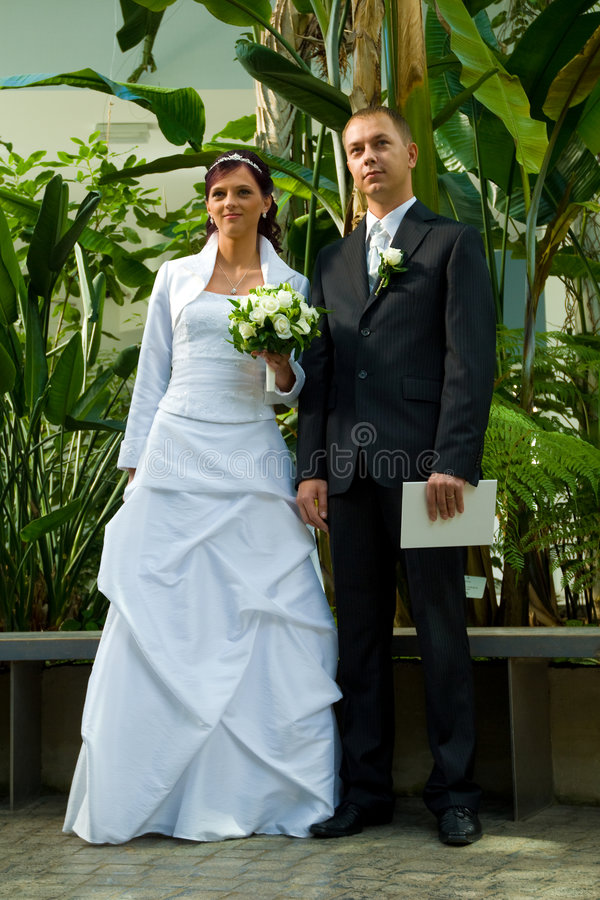 De jongelui wedded paar in tuin   stock foto