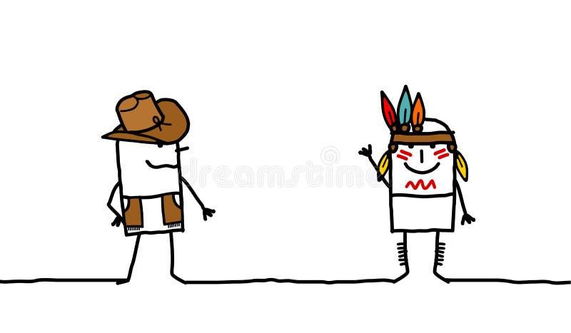 De jongen & Indiër van de koe vector illustratie