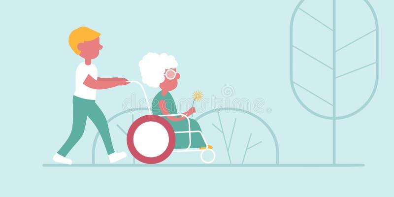 De jongen begeleidt de oude vrouw vector illustratie