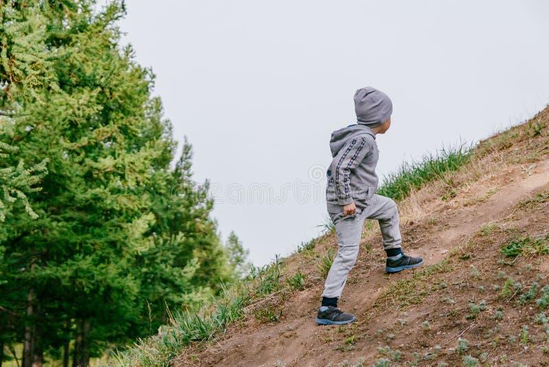 De jongen beklimt de berg royalty-vrije stock foto