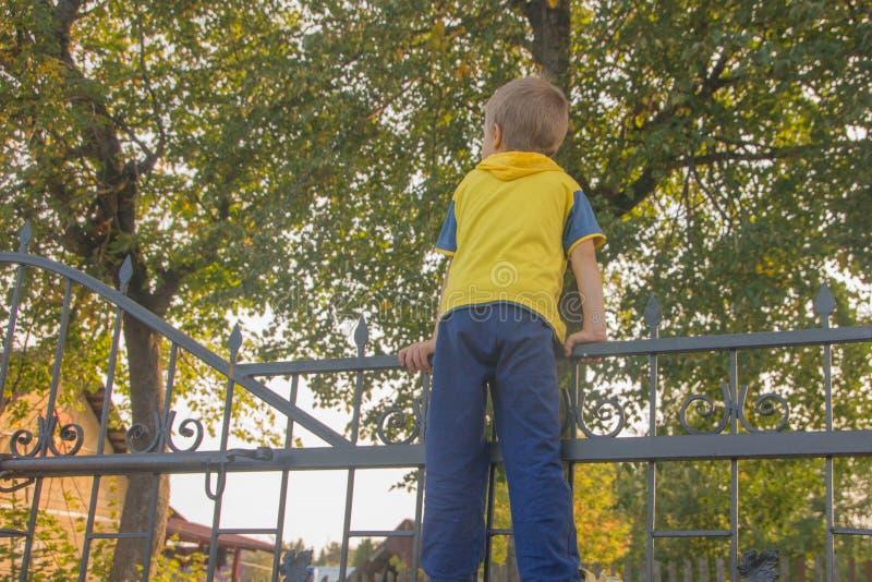 De jongen beklom op de omheining Het kind beklimt op de poort, Fe stock fotografie