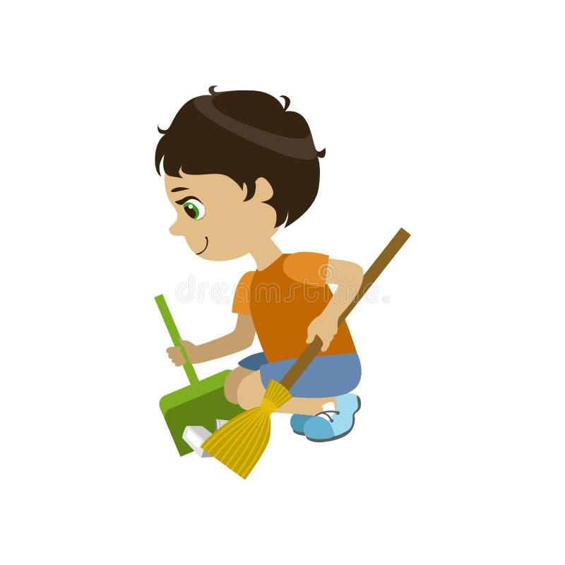 De jongen die een Tuin doen maakt schoon vector illustratie
