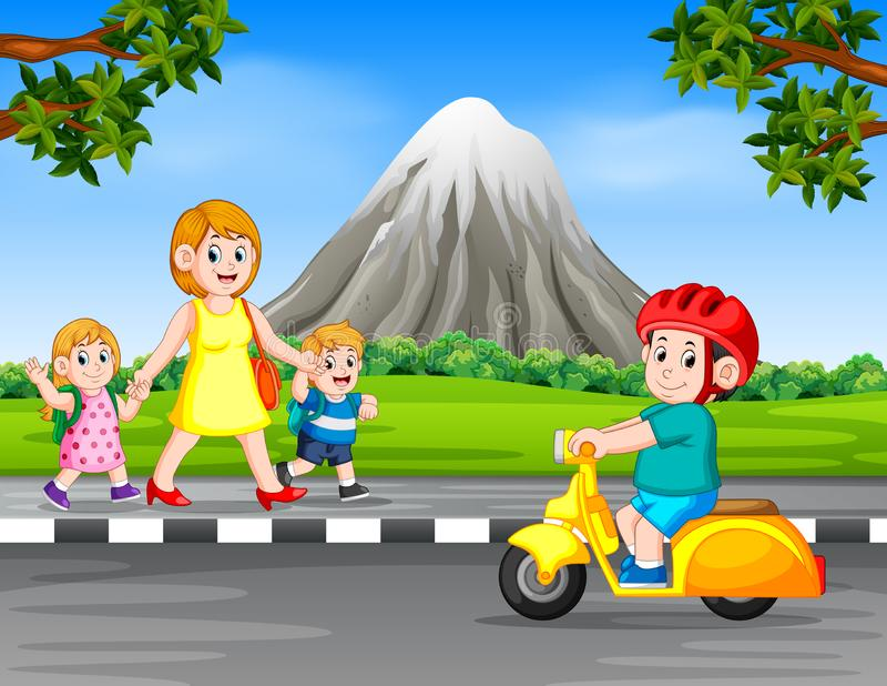 De jongen die de motorfiets drijven wanneer de vrouw en haar kinderen op de weg lopen stock illustratie