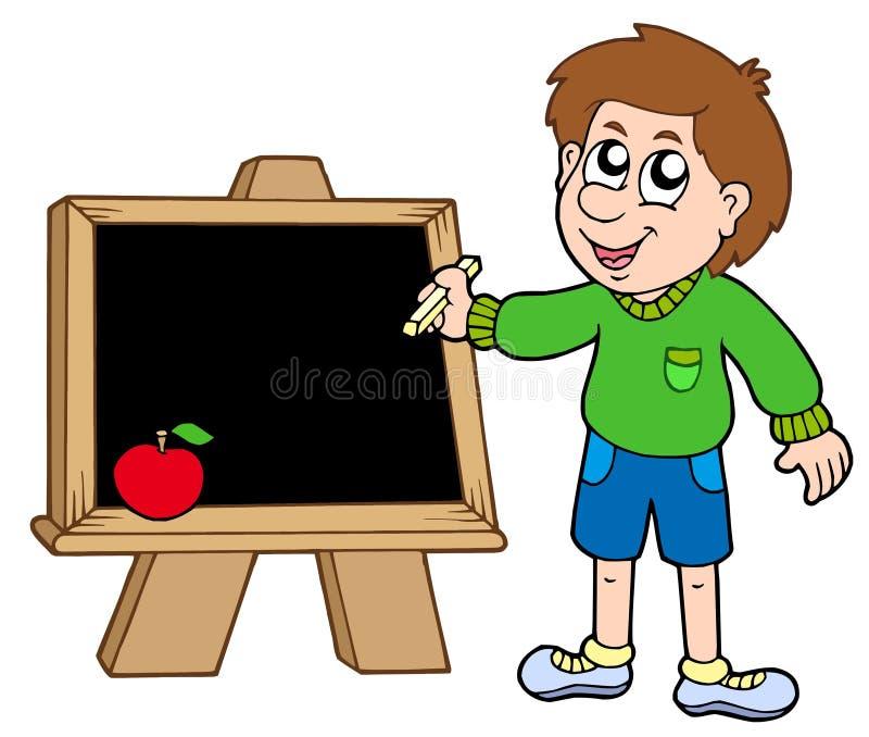De jongen die van de school op bord schrijft royalty-vrije illustratie