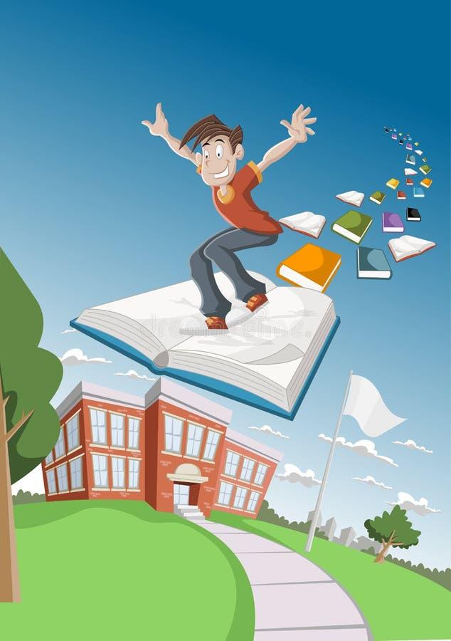 De jongen die van het beeldverhaal op groot boek vliegt vector illustratie