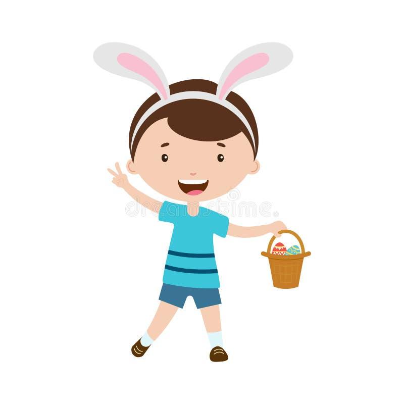 De jongen die van het de lentebeeldverhaal met konijntjesoren mand met eieren houden royalty-vrije illustratie