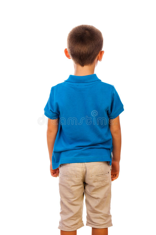 De jongen die zich door een rug bevinden stock foto's