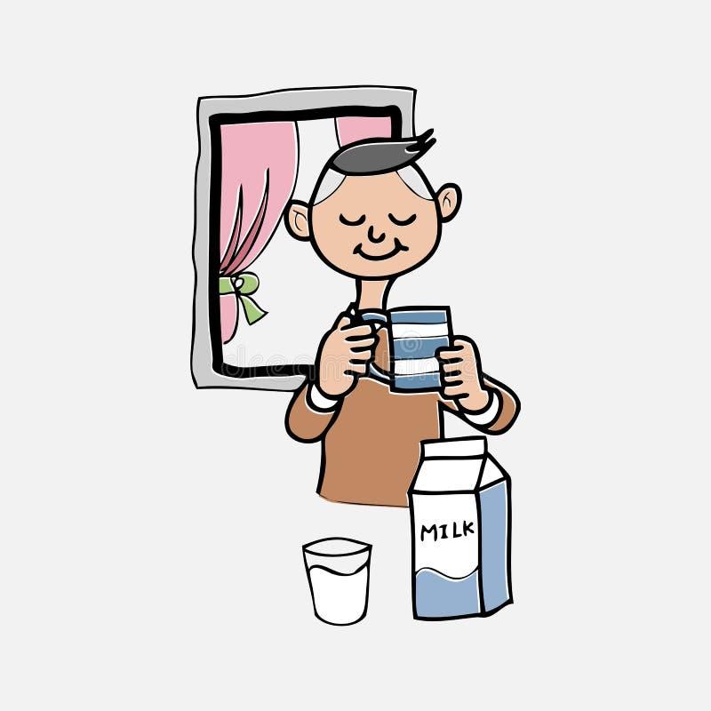 De jongen drinkt melk vector illustratie