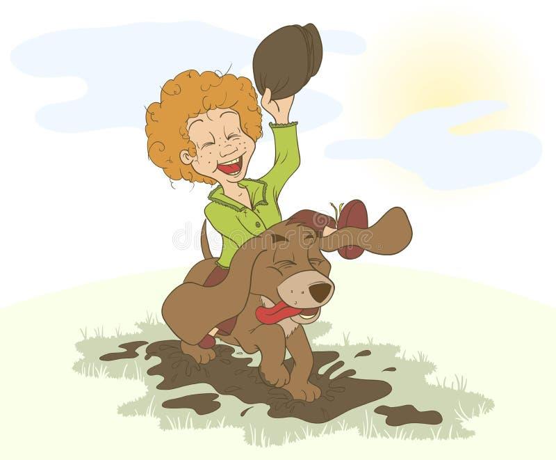 De jongen en de hond die rond in de vulklei lopen royalty-vrije illustratie