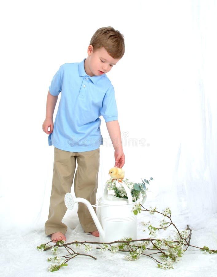 De jongen en het Kuiken met Water kunnen royalty-vrije stock afbeeldingen
