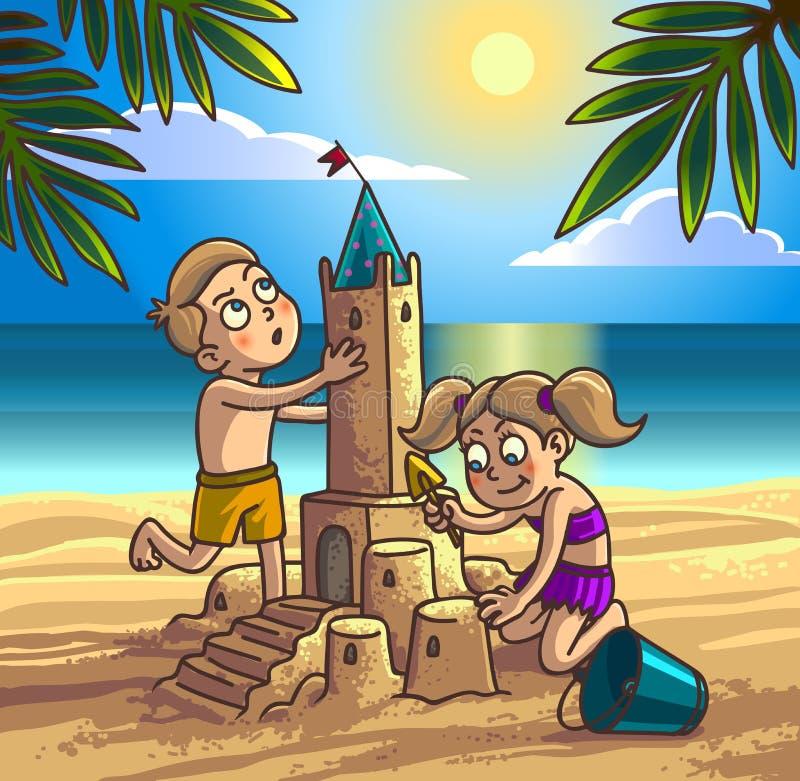 De jongen en het meisje bouwen zandkasteel stock illustratie