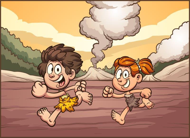 De jongen en het meisje die van het beeldverhaalhol op een voorhistorisch landschap lopen vector illustratie