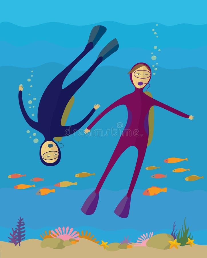 De jongen en het meisje duiken onder water royalty-vrije illustratie