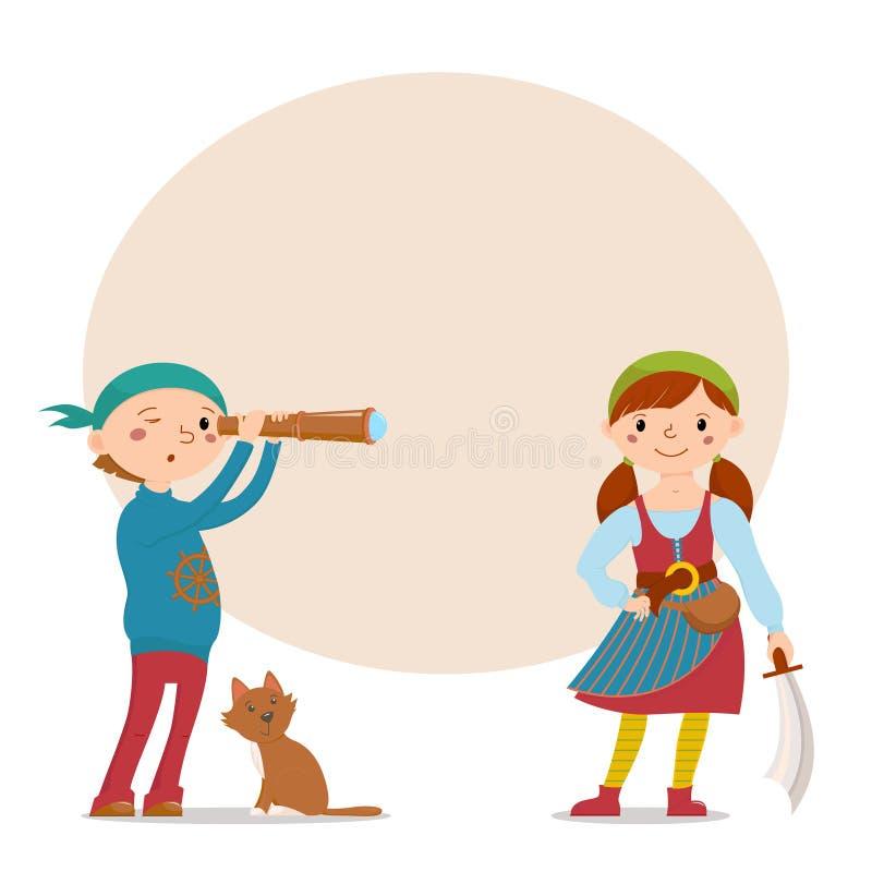 De jongen en het meisje kleedden piraten met plaats voor tekst stock illustratie