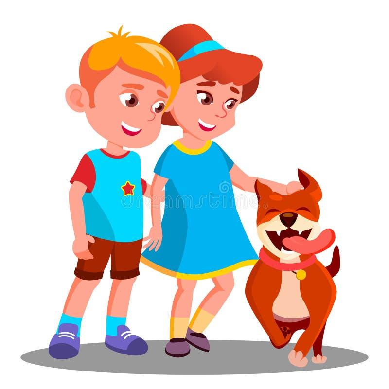 De jongen en het Meisje lopen de Hond, Huisdierenvector Geïsoleerdeo illustratie royalty-vrije illustratie