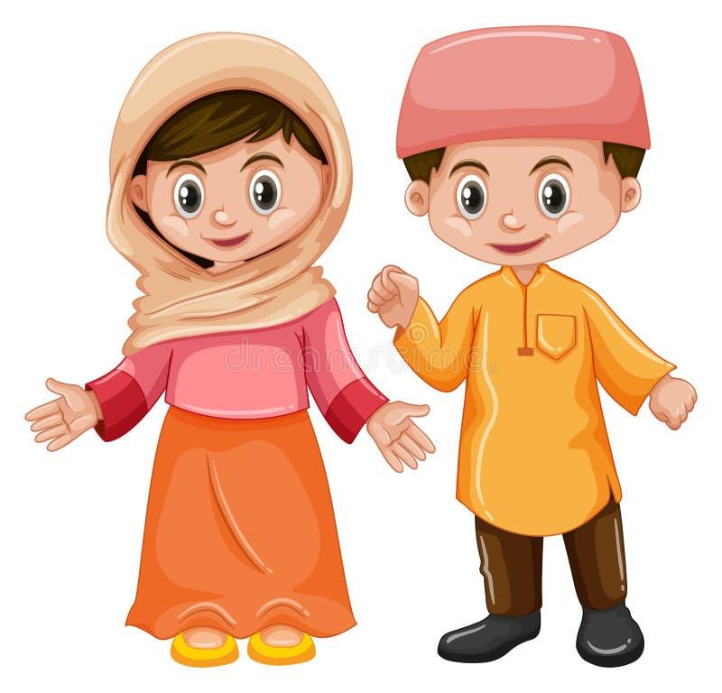 De jongen en het meisje van Afghanistan met gelukkig gezicht stock illustratie