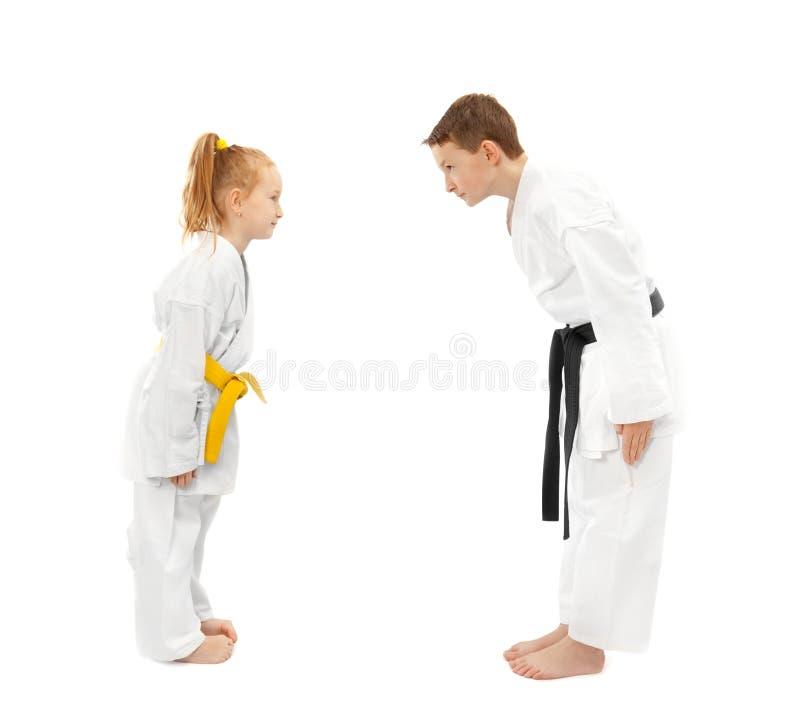 De jongen en het meisje van de karate royalty-vrije stock foto